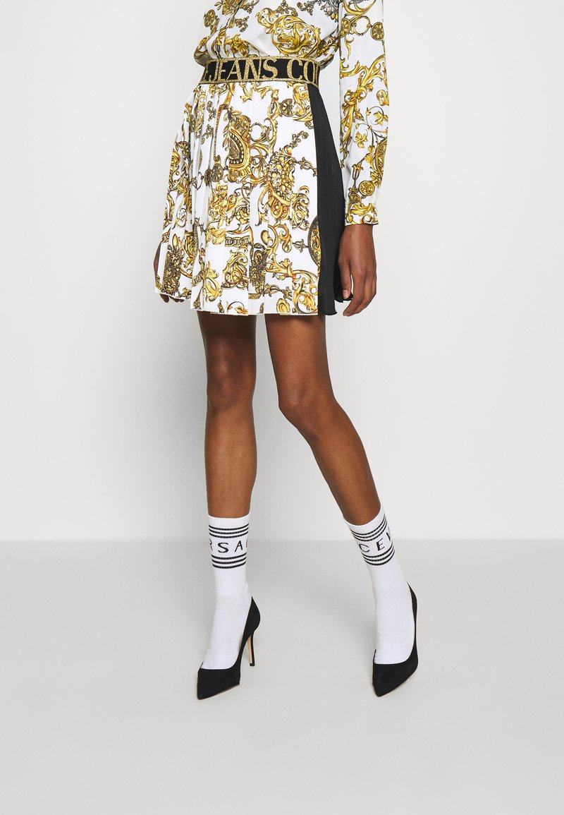 Versace Jeans Couture - SKIRT - A-line skirt - white/gold