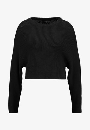BASIC- cropped jumper - Stickad tröja - black