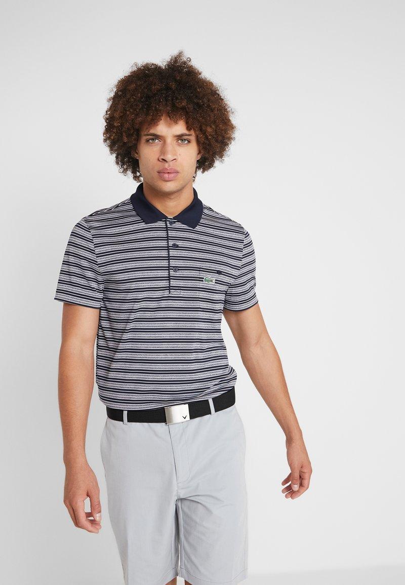 Lacoste Sport - STRIPE - Poloshirt - navy blue/white