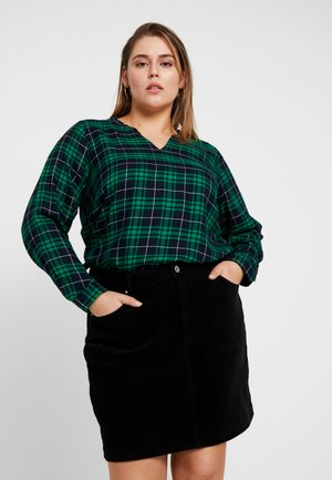 FRILL COLLAR DETAIL CHECKED BLOUSE - Blouse - navy