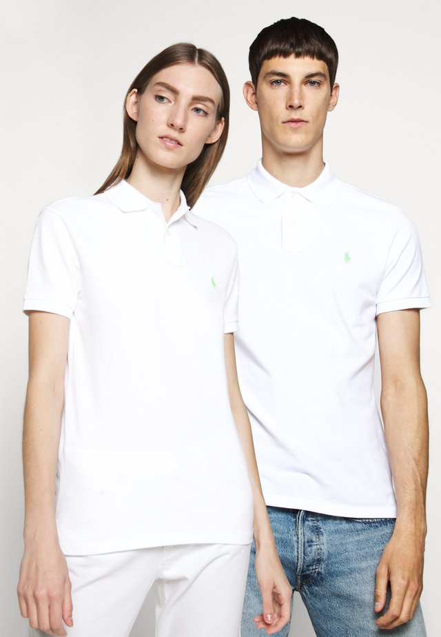 BASIC - Polo shirt - white/ant neon