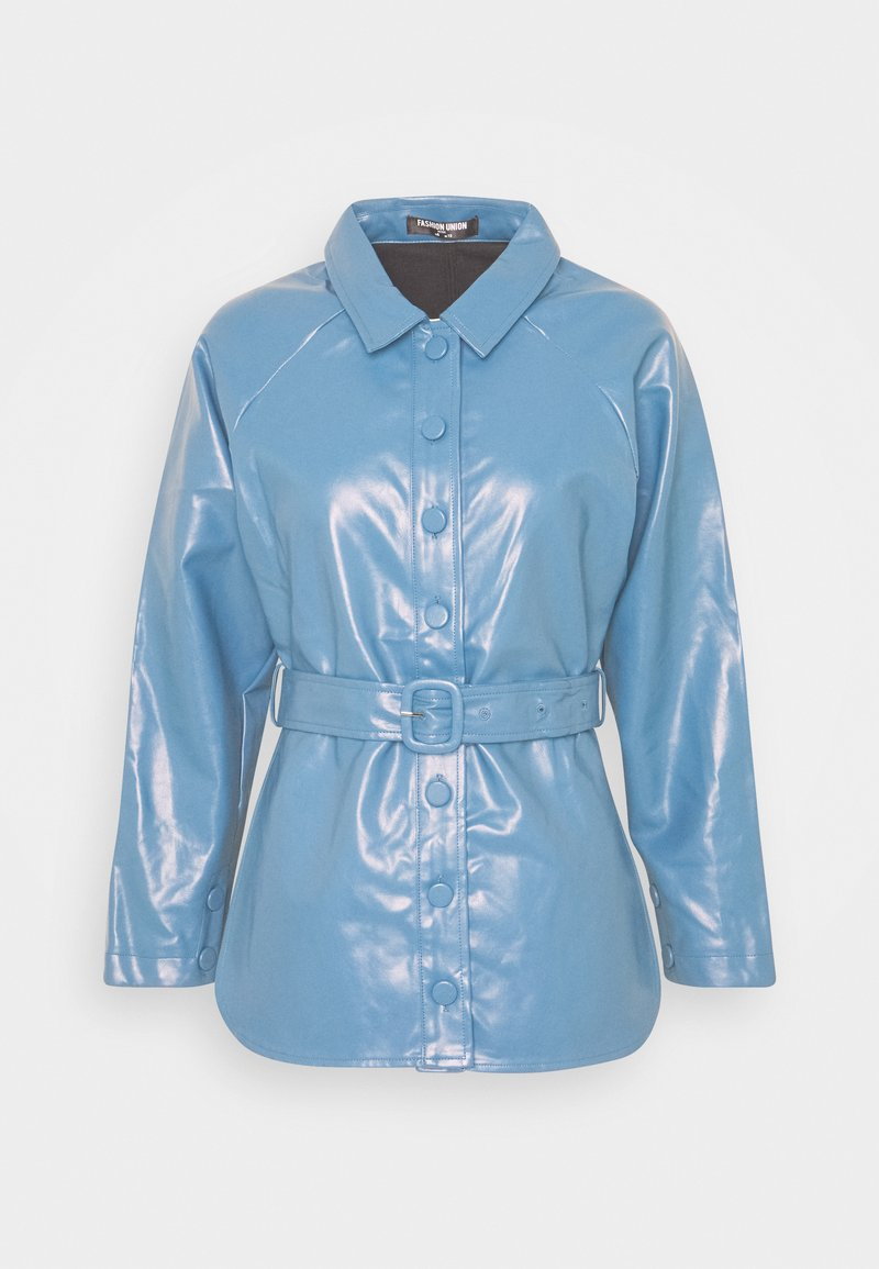 Fashion Union Petite - ABBA - Faux leather jacket - blue