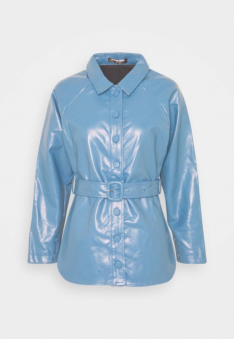 Fashion Union Petite - ABBA - Bunda zumělé kůže - blue