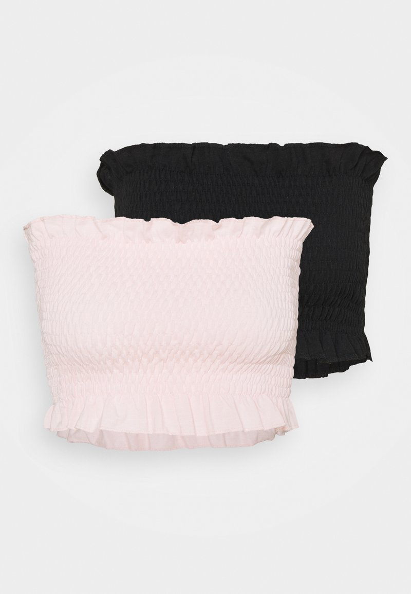 Missguided - SHEARED BANDEAU 2 PACK  - Top - black/baby pink