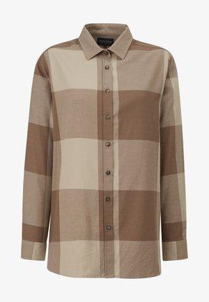 Button-down blouse - brown check