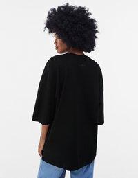 Bershka - OVERSIZED UNISEX - T-shirt - bas - black - 8