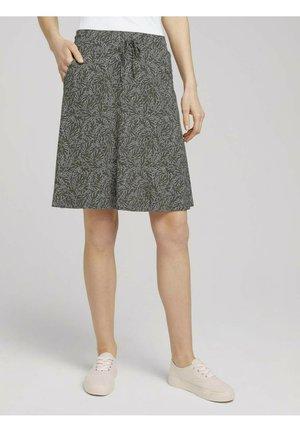MIT TASCHEN - A-line skirt - khaki white outline leaves