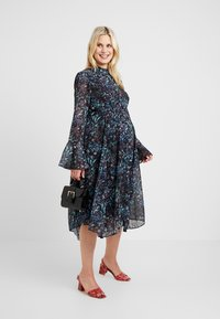 Hope & Ivy Maternity - FLUTE LONG SLEEVE HANDKERCHIEF HEM MIDI DRESS - Day dress - dark blue - 1