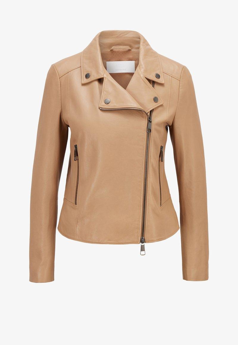BOSS - SAJUANA - Leather jacket - beige