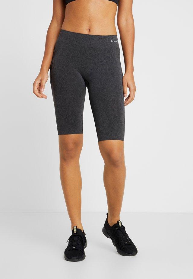 SEAMLESS CYCLING - kurze Sporthose - black melange