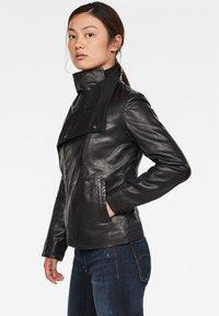 G-Star - COLLAR SLIM - Leather jacket - dk black - 2