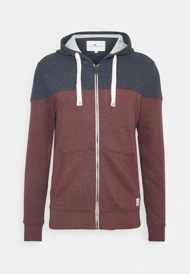 COLORBLOCK ZIPPER JACKET - Zip-up hoodie - dusty wildberry red