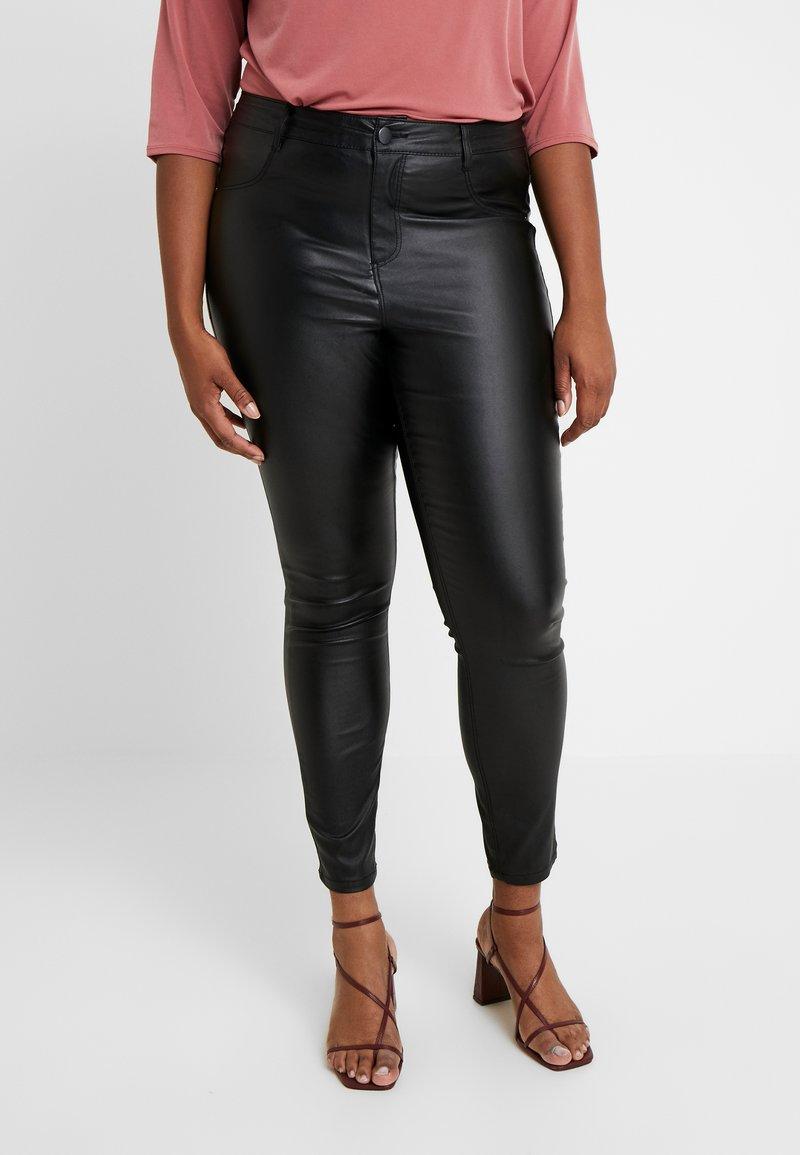 Dorothy Perkins Curve - COATED FRANKIE - Pantalones - black