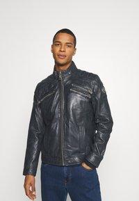 Carlo Colucci - BIKER JACKET - Leather jacket - anthra - 0