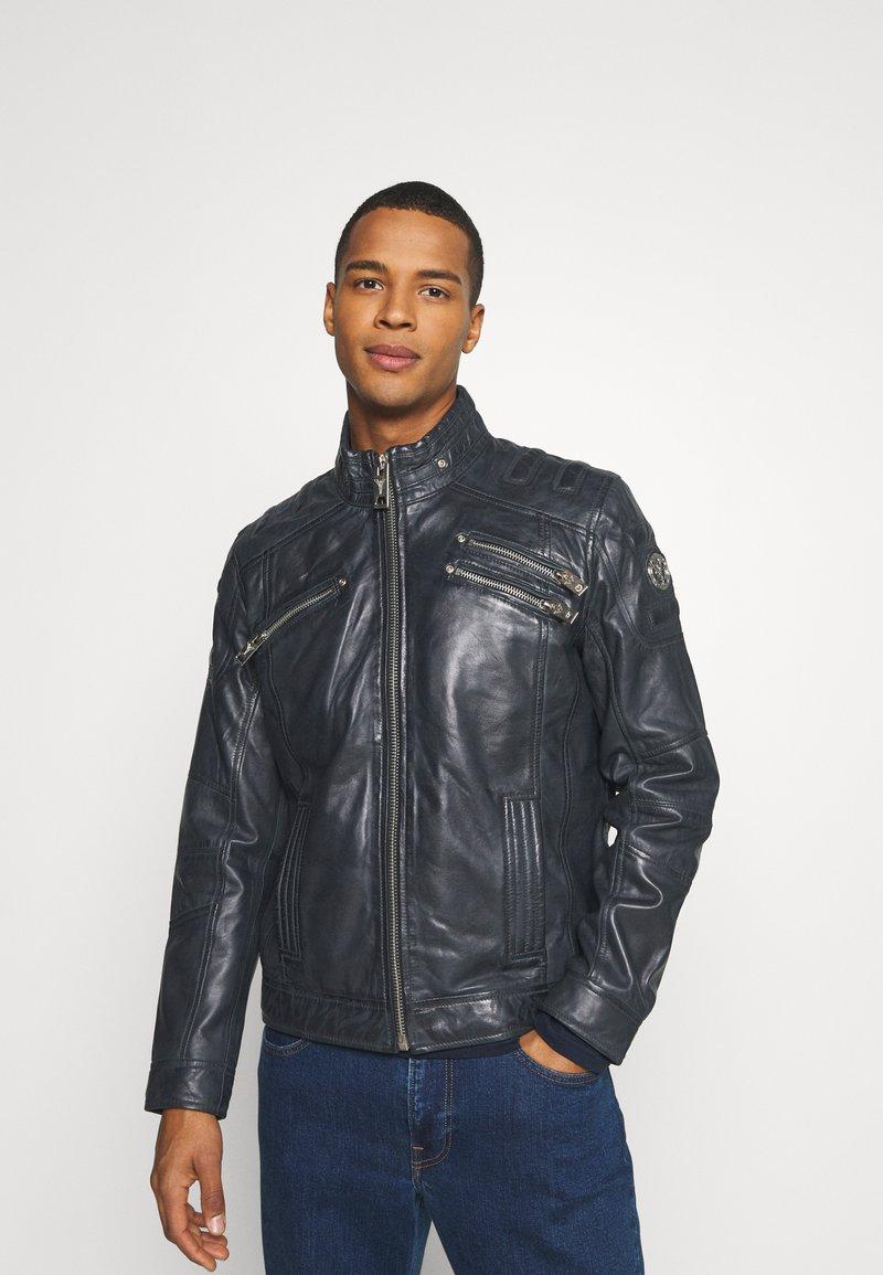 Carlo Colucci - BIKER JACKET - Leather jacket - anthra