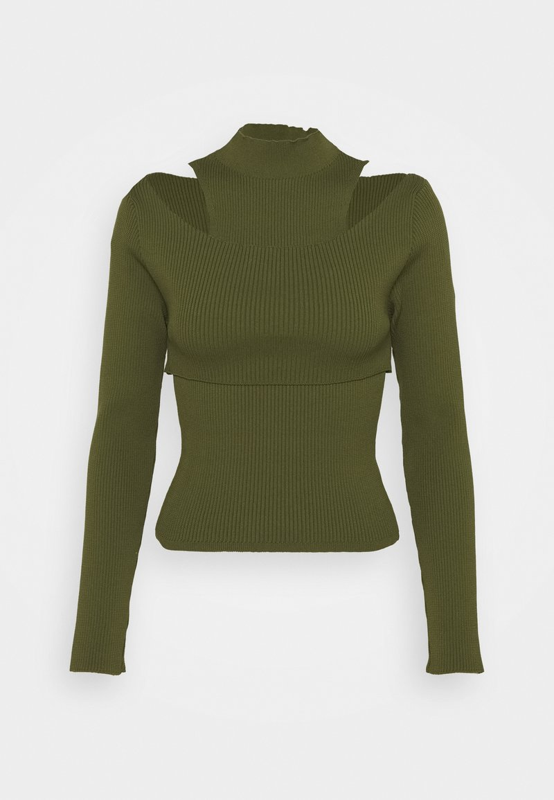 Topshop - CUT OUT TWO PIECE 2-IN-1 - Top - khaki