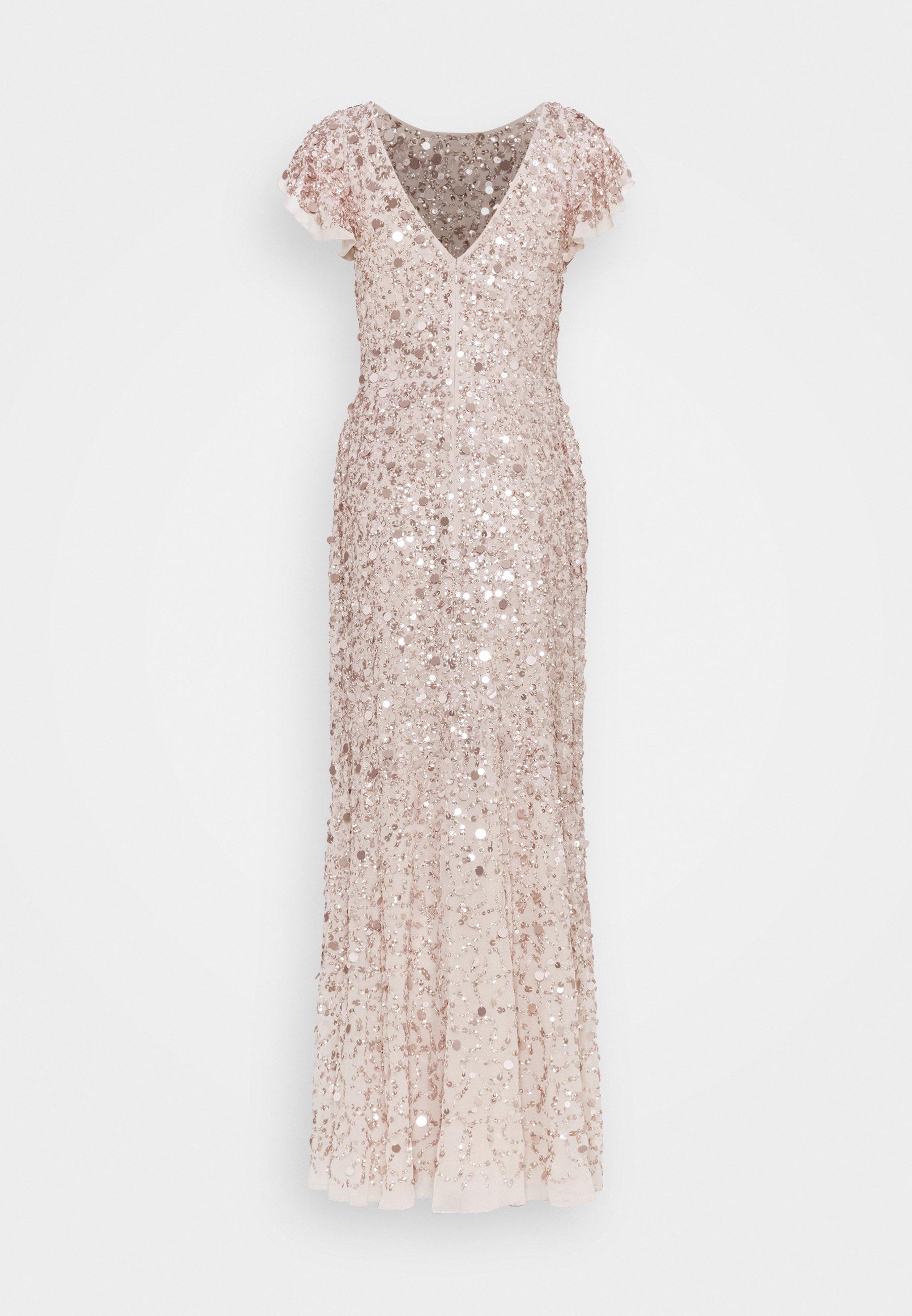 Maya Deluxe Flutter Sleeve All Over Sequin Maxi Dress Robe De Cocktail Rose Gold Rose Clair Zalando Be