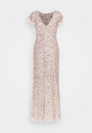 FLUTTER SLEEVE ALL OVER SEQUIN MAXI DRESS - Galajurk - rose gold
