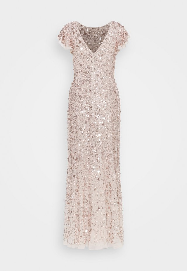 FLUTTER SLEEVE ALL OVER SEQUIN MAXI DRESS - Festklänning - rose gold