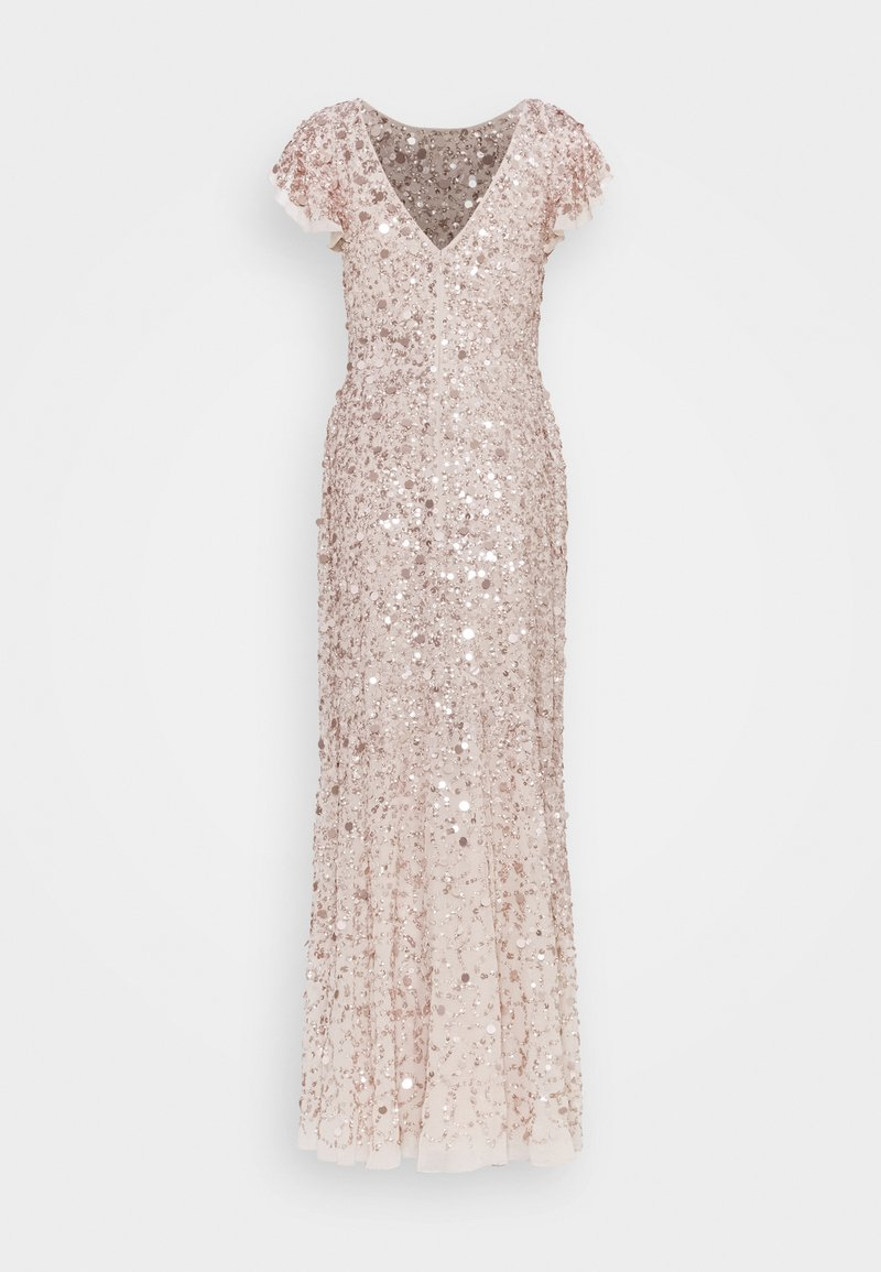 Maya Deluxe - FLUTTER SLEEVE ALL OVER SEQUIN MAXI DRESS - Ballkjole - rose gold