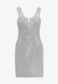 Rare London - METALLIC BODYCON MINI DRESS - Vestido de tubo - grey - 4