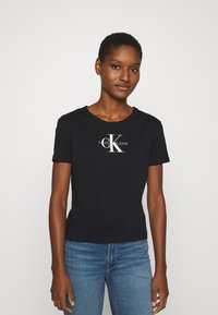 Calvin Klein Jeans - MONOGRAM STRIPE BABY - T-Shirt print - black beauty - 0