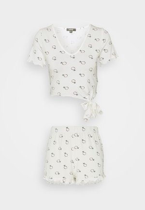 BRIDAL RING PRINT TEE AND SHORT - Pyjamas - white