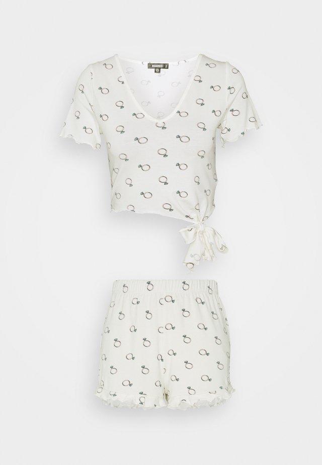 BRIDAL RING PRINT TEE AND SHORT - Pyžamo - white