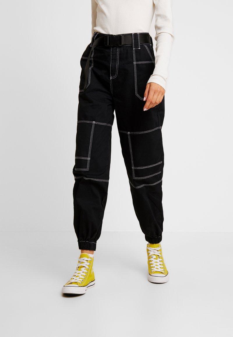 Topshop - CONTRAST GILDA UTILITY - Kalhoty - black