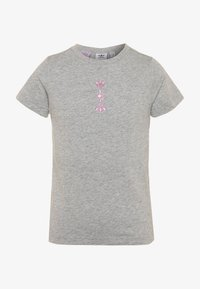 adidas Originals - LOGO TEE - T-shirt z nadrukiem - medium grey heather/scarlet - 0