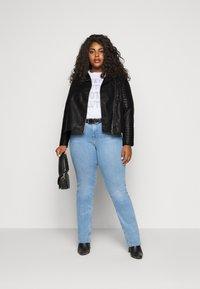 New Look Curves - BIKER - Faux leather jacket - black - 1