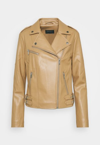 Faux leather jacket - camel