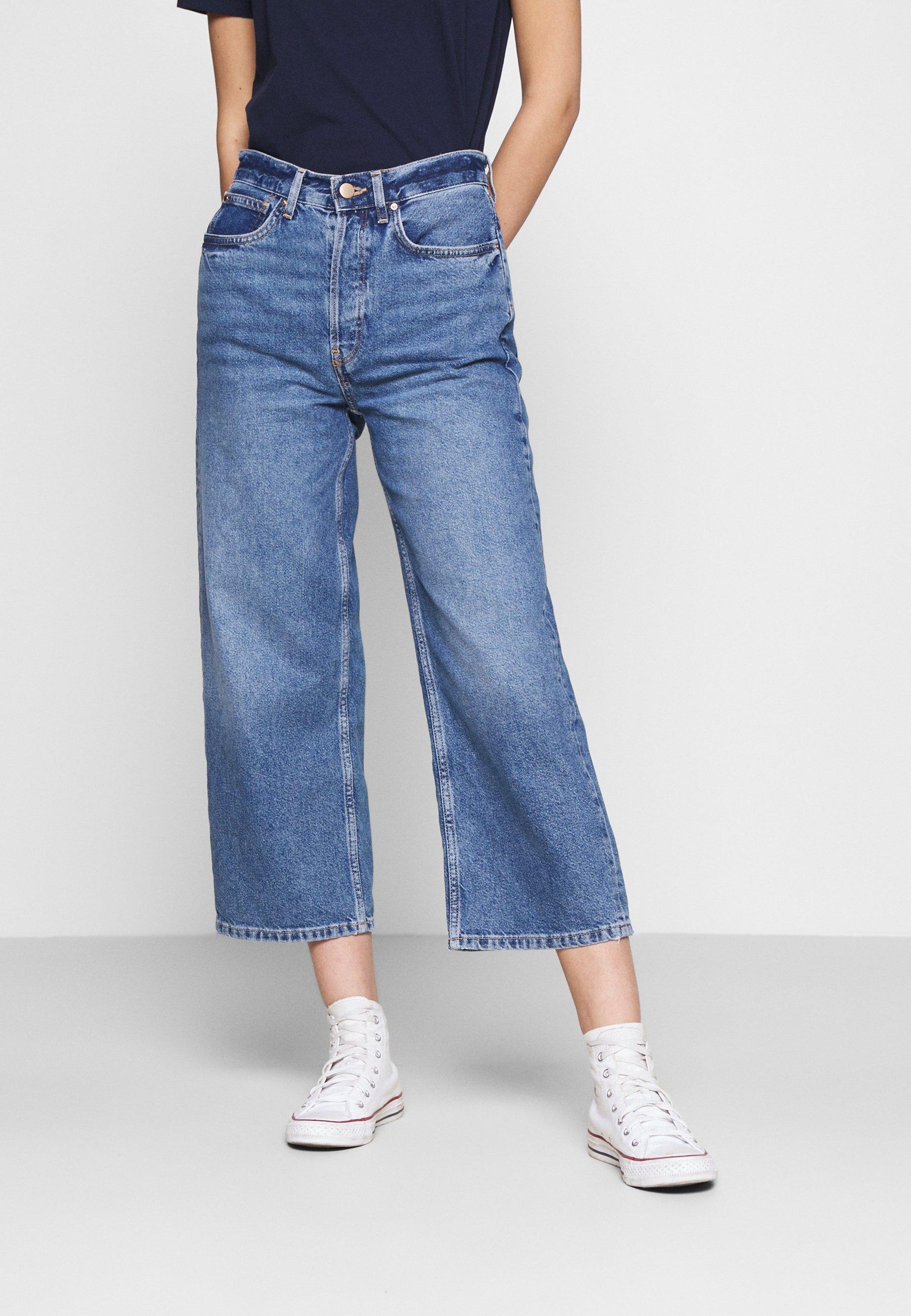 Women Wide leg cropped jeans - Straight leg jeans
