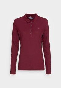 LONG SLEEVE SLIM POLO - Long sleeved top - deep rouge