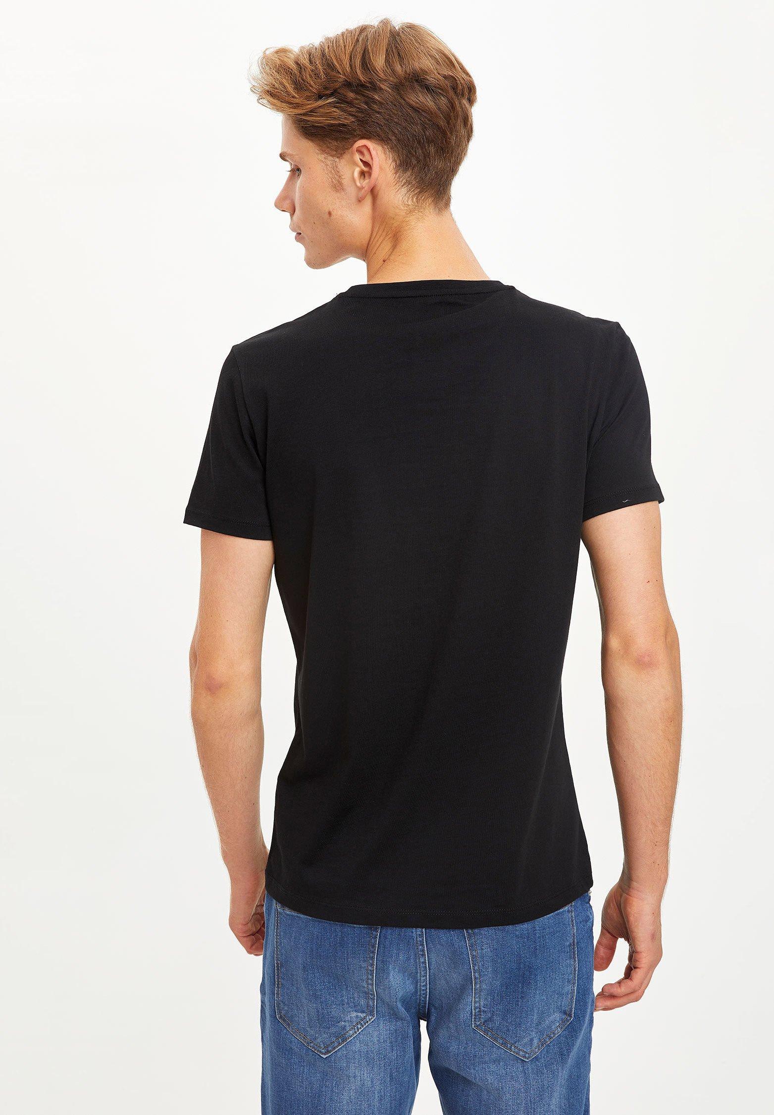 DeFacto Print T-shirt - black ADA9K