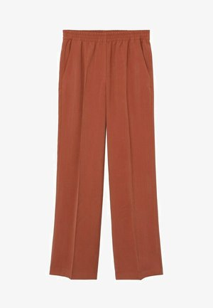 FLOWY STRAIGHT-FIT  - Tygbyxor - burnt orange