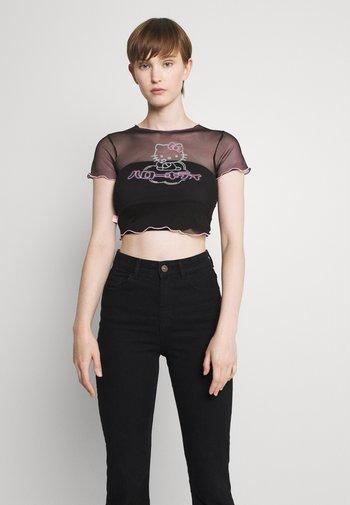 HELLO TEE TRIM - Print T-shirt - black/pink