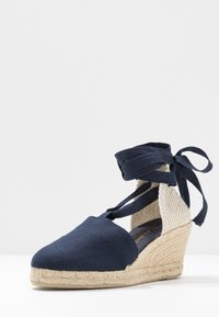 JUTELAUNE - LACE UP WEDGES - Espadrillas - navy - 4