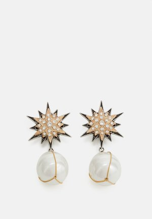 OMEGA DOUBLE STAR WITH PENDANT - Earrings - cream/antique silver-coloured/gold-coloured