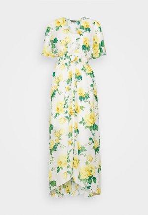 SHEERED WAIST FLORAL KIMONO DRESS - Vestido informal - yellow