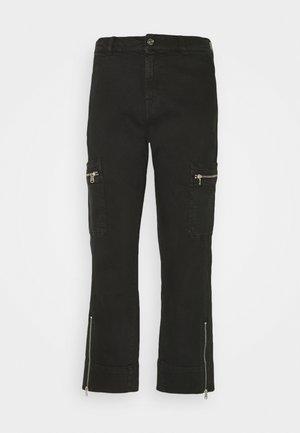 BIKER CARGO COLOURED BULL BLACK WITH ZIPS - Cargo trousers - black