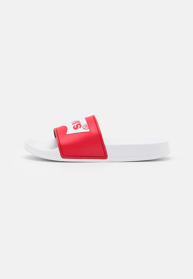 POOL UNISEX - Pantofle - red/white