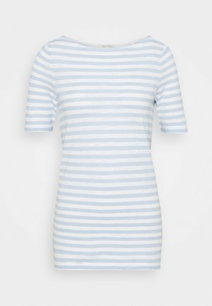 SHORT-SLEEVE BOAT-NECK STRIPED - T-shirt con stampa - light blue