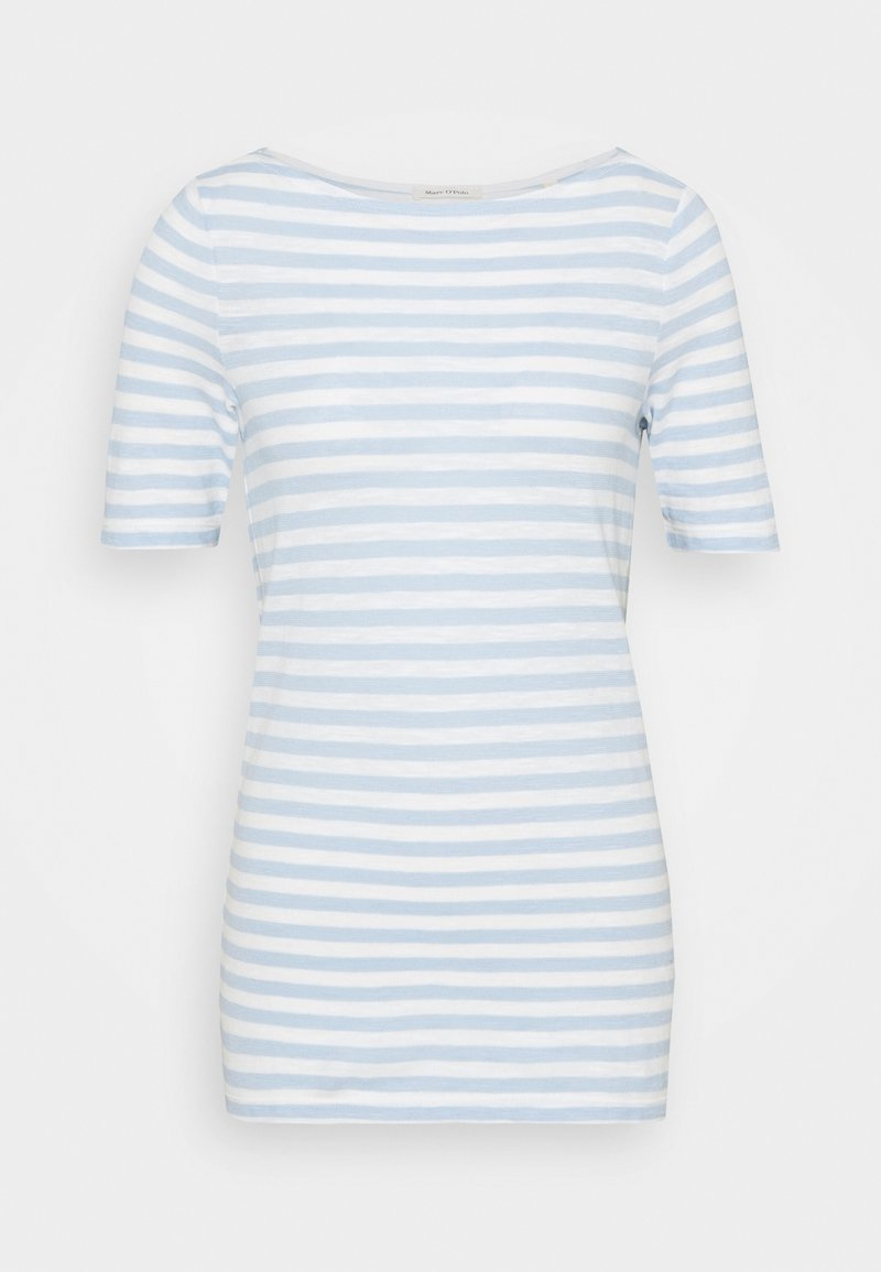 Marc O'Polo - SHORT-SLEEVE BOAT-NECK STRIPED - T-shirts med print - light blue