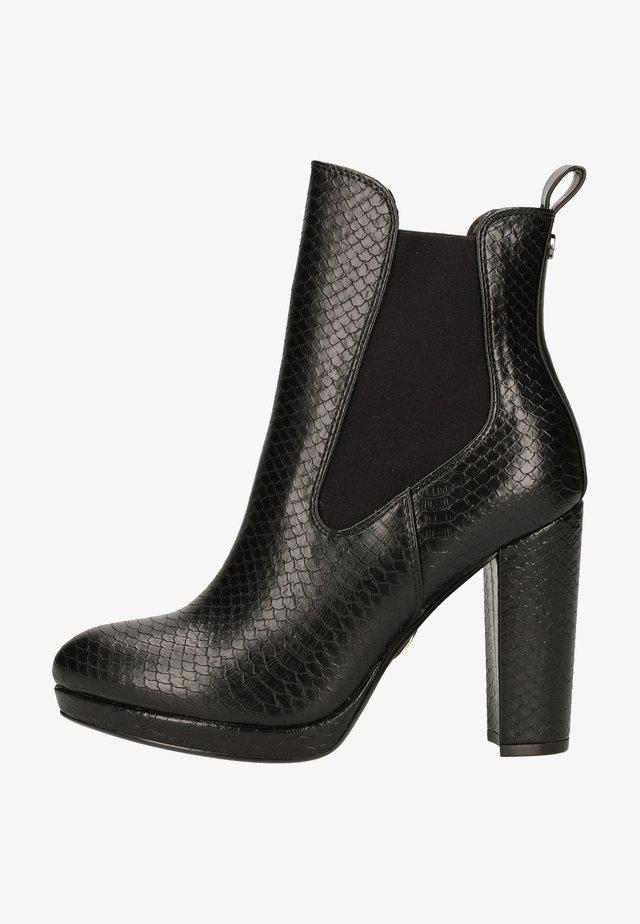 High heeled ankle boots - snake black