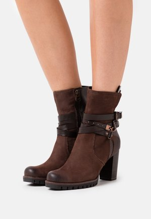 BOOTS - High heeled ankle boots - mocca