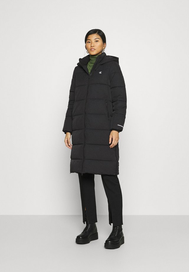 PEACHED LONG PUFFER - Winter coat - black