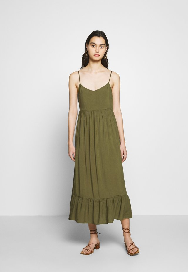 STRAPPY TIERED MIDI DRESS - Maxi dress - khaki