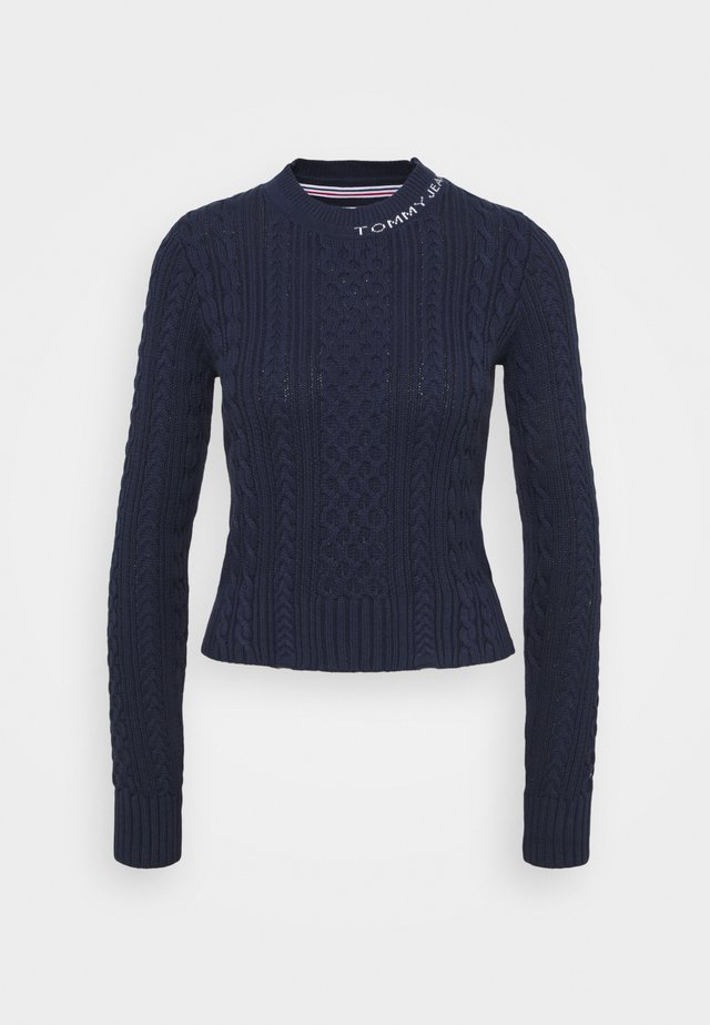 BRANDED NECK CABLE - Sweter - twilight navy