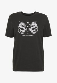 Even&Odd - HATTIE MIRRORED DRAGONS TEE - Triko s potiskem - 801 - anthracite - 4